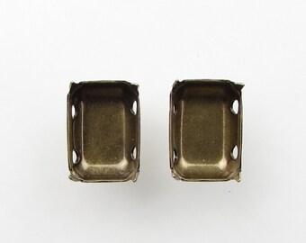 Prong Setting Antiqued Brass Ox Octagon Rhinestone Sew On Closed Back 14x10mm set0201 (6)