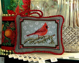 Cross Stitch Pattern, Winter Red Cardinal, Christmas Ornament, Holiday Decorating