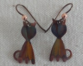 NEW - Cute Kitty Cats - Flame Painted Copper Earrings. Vibrant Colors. Gift for Her. Artisan. Jewelry. Handcrafted.Unique