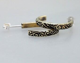 Brass Half Hoop Earrings, Swirling Vine Post Earrings