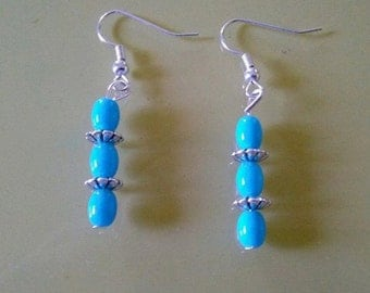 Sillver and blue dangles.