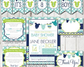 Digital Printable Baby Shower Party Package Blue Clothesline, Navy, Aqua & Lime Green - Shower Games and Decorations PP030
