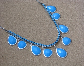 Vintage silver tone necklace w faux turquoise dangles