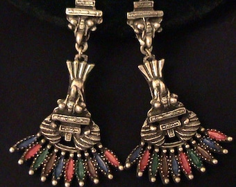 Vintage Vrba for CASTLECLIFF Mayan Aztec Earrings