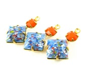2 - Square Vintage Glass Pendants Millefiori Set Stones 1 Ring Brass Prong Settings Blue & Coral 18x11mm