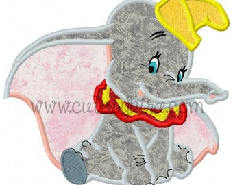 Flying Elephant Applique Embroidery Design