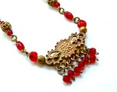 Old World Ruby Red Glass Filigree Fringe Necklace Victorian Jewelry