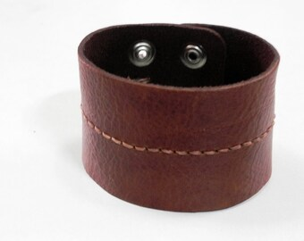 Tan Leather Cuff Bracelet Leather Bracelet with Hand Stitched