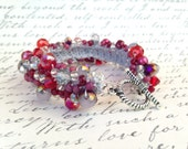 """Crocheted Beaded Statement Cuff Bracelet in Red, Silver, and Purple with Grey Cord - 7-1/4"""""""