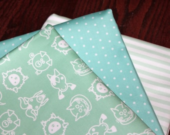 Organic Cotton Sateen Designer Fabric - Half Yards - Mod Farm - Minty Green - Exclusive Design -1.5 yard total