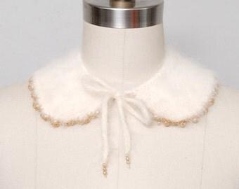 1950s Peter Pan Collar - Cream Angora Knit Peter Pan Collar