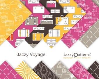 Travel digital paper pack backgrounds for scrapbooking DP097 instant download