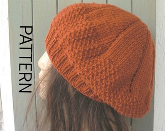 Knit hat pattern- Digital  Hat Knitting PATTERN PDF -Seed Stitche Beret  Pattern  Intermediate DIY - womens hat  Fall Autumn Winter Fashion