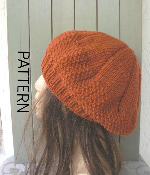 Knit hat pattern- Digital  Hat Knitting PATTERN PDF -Seed Stitche Beret  Pattern  Intermediate DIY - womens hat  Fall Autumn Winter Fashion