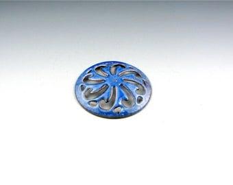 Enameled Pinwheel Focal or Cab /  Nitric Blue Enamel / Made to order