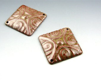 Enameled Deco Diamonds / Soft Brown Enamel / Made to Order