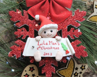 Personalized baby's first Christmas ornament - foam snowflake - gift for mum to be expecting grandfathers children newborn kid red gold