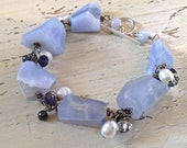 Blue Lace Agate Gemstone Bracelet, Chunky Blue Gemstone Bracelet