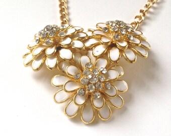 White Enamel Flower Necklace, Floral Statement Necklace, Bib Style Flower Necklace