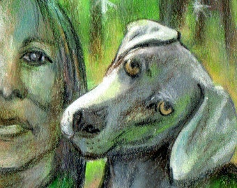 original art drawing aceo card woman and weimaraner