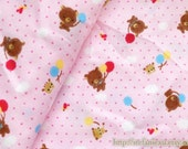 SALE CLEARANCE 1 YARD Cotton Fabric-Cute Rilakkuma Bear With Colorful Holiday Balloon Pink Dots (1 Yard)
