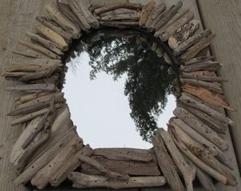 Driftwood oval mirror vintage wood frame lake Superior beach coastal