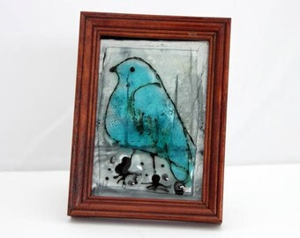 Blue Bird Painting Fused Glass illustrations Painting tabletop  decoretion