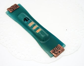 Fused Glass Mezuzah case - Bright Turquoise - Jewish Hand Made Home Art.
