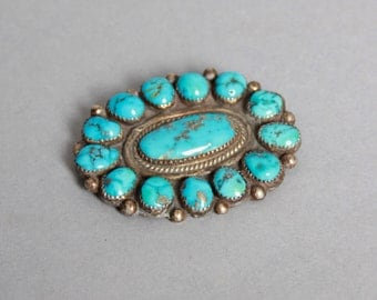 Vintage Old Pawn STERLING & TURQUOISE Brooch / 2 1/4