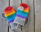 Rainbow Mittens Handknit String Mittens for Children