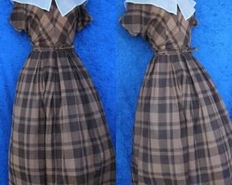 Vintage 40s 50s 1950s Dotted Swiss Portrait Collar Shirtwaist Rockabilly Dress Medium