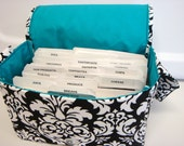 Super Large Size Coupon Organizer / Budget Organizer Holder Box - Black and White Dandy Damask Teal Lining