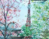 Free Shipping - Japan Tokyo Tower Cherry Blossoms Japanese(Original Watercolor Painting)