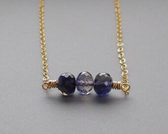 Iolite Bar Gold Necklace