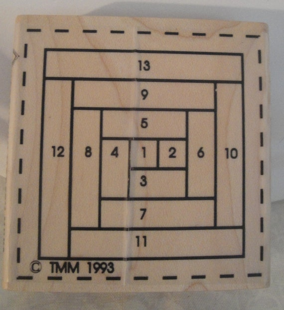 1993 Paper Piece Rubber Stamp Log Cabin Miniature Quilt Block
