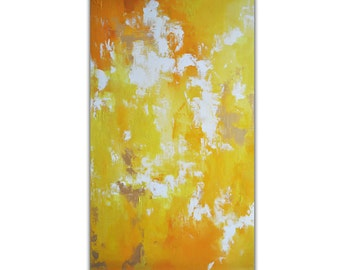 """Original Abstract Painting LARGE 24x39"""" UNSTRETCHED Rolled in a tube, Bold Bright Yellow"""