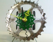 Recycled Bicycle Sprocket & Spoke Desk Clock - Green