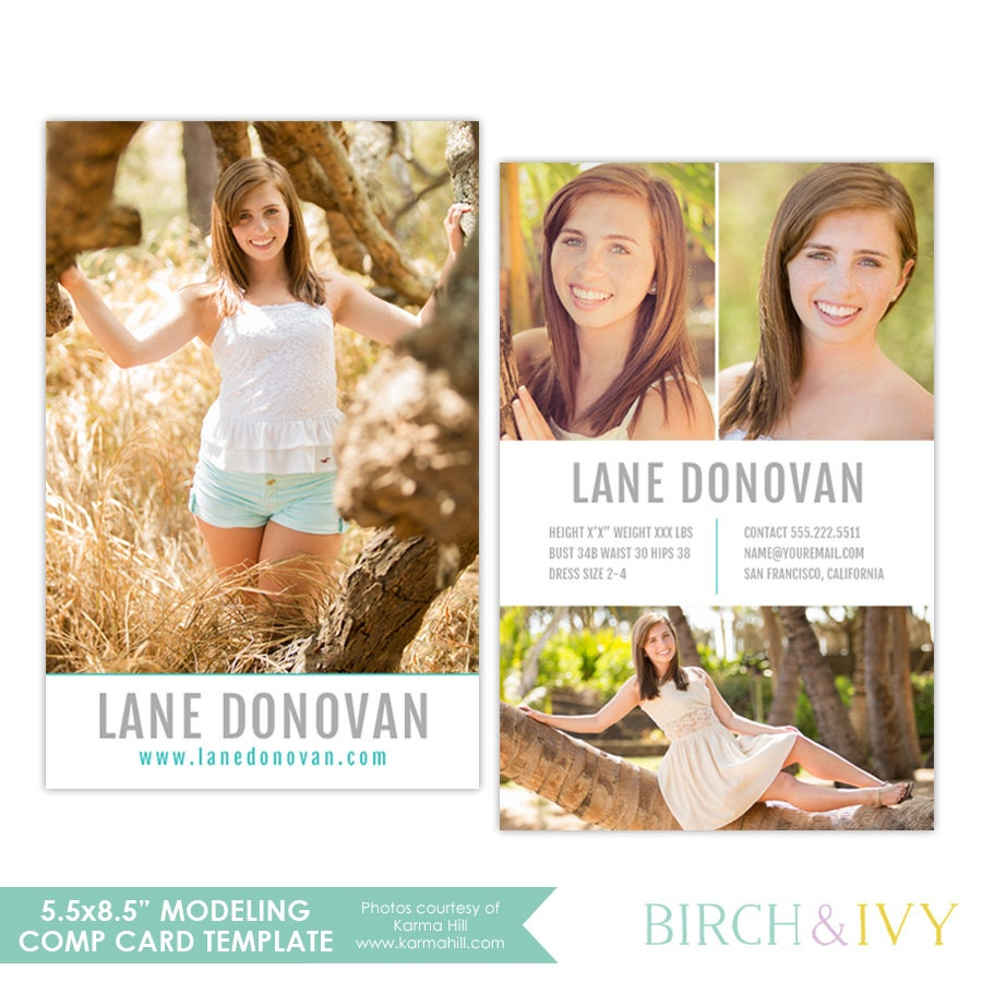 Modeling comp card photoshop template for by birchandivydesign for Free model comp card template psd