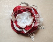 Norah - Red and flax with vintage netting, pearls, twine, lace m2m Well Dressed Wolf Winter Berries