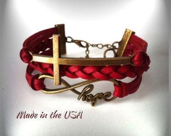 Sideways Cross Infinity Hope bracelet, Charm bracelet, Friendship bracelet, Faith bracelet