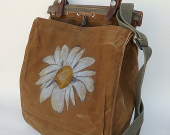 Grunge Daisy on a Vintage Swiss Canvas Military Bag Satchel - Hand Painted