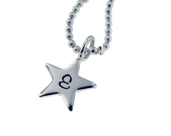 Silver Star Intial Charm Necklace Hand Stamped Sterling Dainty New Mom Jewelry Personalized Engraved Artisan Handmade Fine Designer Petite