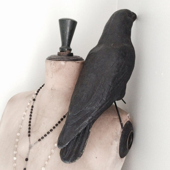Crow, antique,papier mâché, taxidermy looking crow, Shabby Chic.