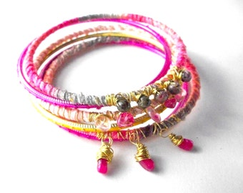 Wrapped bangle bracelet set, pink boho bracelet stack, ribbon and wire wrapped bangle bracelets, fuschia green boho gypsy ombre jewelry