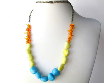 """Long gemstone necklace, yellow orange blue necklace, 33"""" beaded chain necklace with orange genuine coral, yellow jade and blue marble beads"""
