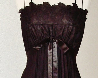 Stunning 60s Black Hostess Gown Lingerie or Dress Accordion Pleated & Lace Satin Ribbon by Vanity Fair B36 Looks Unworn
