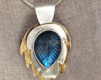 Labradorite and Leaves Necklace