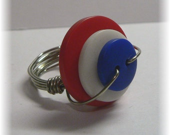 Wire Wrapped Red White And Blue Button Ring Size 7