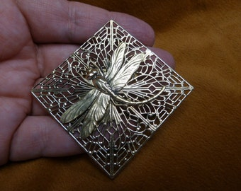 Dragonfly insect pond bug lover diamond shaped filigree Victorian BRASS pin pendant brooch B-DRAG-152