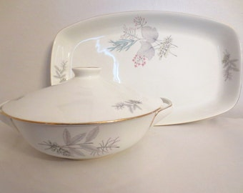 Large Serving Bowl with cover- Norway spray of leaves Danish Modern free shipping